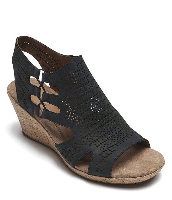 ロックポート レディース サンダル シューズ Janna Perforated Nubuck Cork Wedge Sandals Black Nubuck