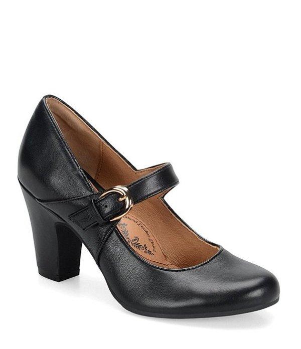 ソフト レディース ヒール シューズ Miranda Leather Mary Jane Buckle Strap Pumps Black