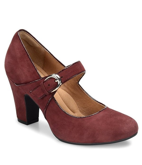 ソフト レディース ヒール シューズ Miranda Suede Mary Jane Buckle Strap Pumps Aubergine