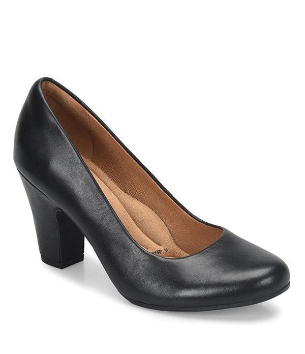 ソフト レディース ヒール シューズ Madina Block Heel Pumps Black