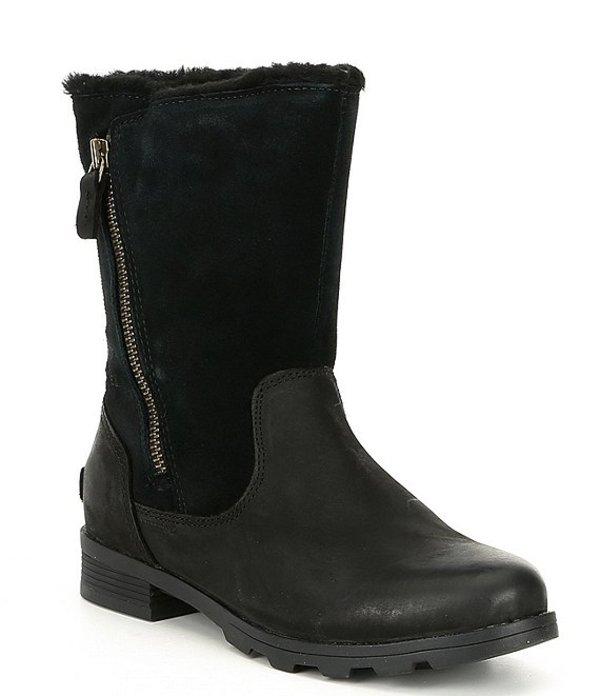 ソレル レディース ブーツ・レインブーツ シューズ Emelie Fold Over Faux Fur Lined Waterproof Boots Black