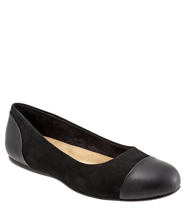 ソフトウォーク レディース パンプス シューズ Sonoma Cap Toe Nubuck Ballet Flats Black