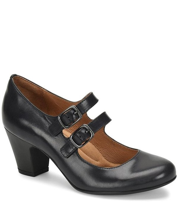 ソフト レディース ヒール シューズ Maliyah Leather Mary Jane Block Heel Pumps Black