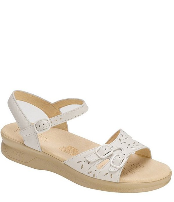 サス レディース サンダル シューズ Duo Leather Wedge Sandals White