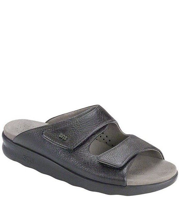 サス レディース パンプス シューズ Cozy Leather Slide Sandals Black