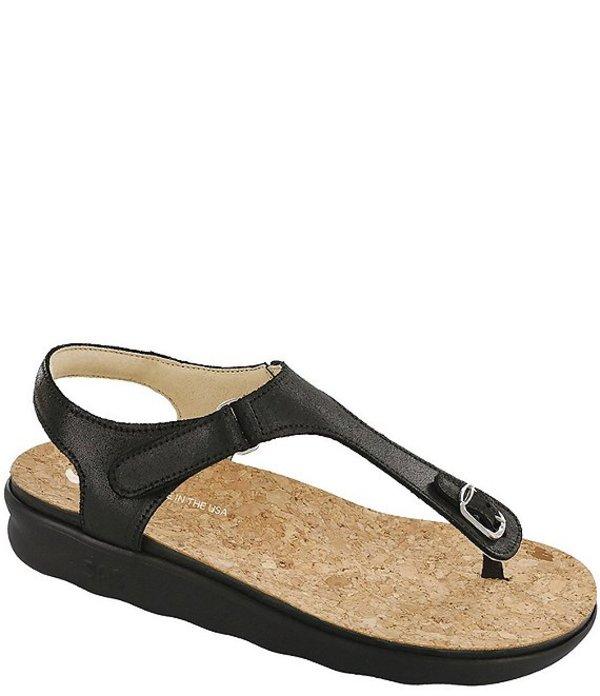 サス レディース サンダル シューズ Marina Leather Thong Sandals Black