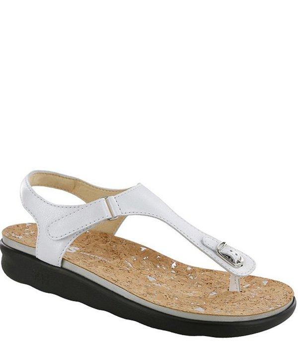 サス レディース サンダル シューズ Marina Leather Thong Sandals Pearl White