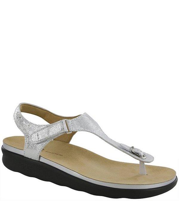 サス レディース サンダル シューズ Marina Metallic Leather Thong Sandals Shiny Silver