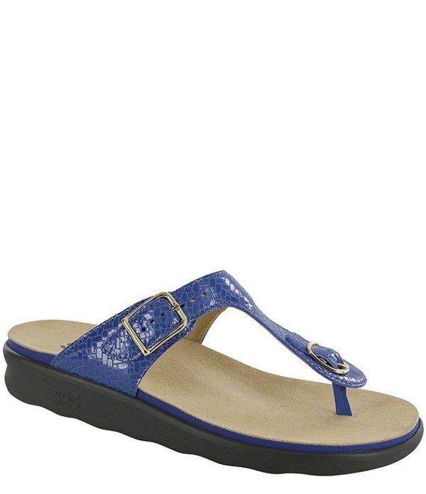 サス レディース サンダル シューズ Sanibel Weave Print Leather Thong Sandals Weave Sapphire