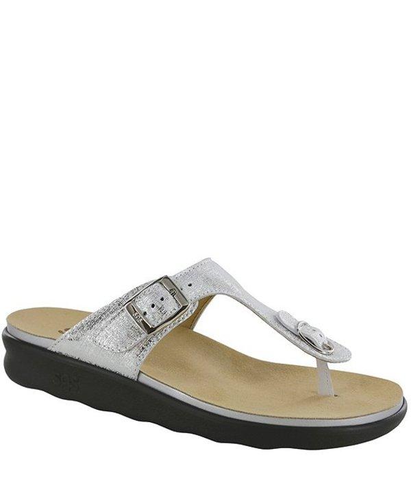 サス レディース サンダル シューズ Sanibel Metallic Leather Print Thong Sandals Shiny Silver