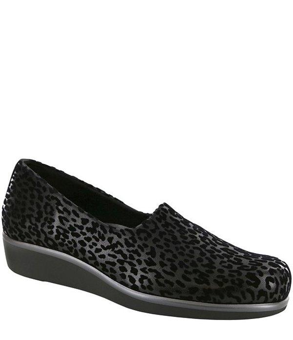 サス レディース スニーカー シューズ Bliss Leopard Print Flex Fabric Slip Ons Black Leopard