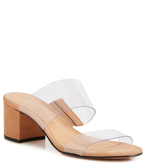 シュッツ レディース サンダル シューズ Victorie Clear Block Heel Dress Slides Transparent/Honey
