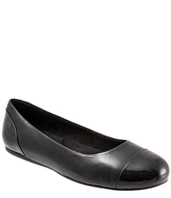 ソフトウォーク レディース パンプス シューズ Sonoma Leather Cap Toe Ballerina Slip On Flats Black