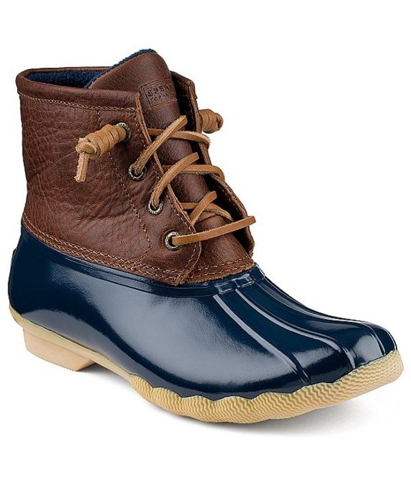 スペリー レディース ブーツ・レインブーツ シューズ Top-Sider Saltwater Women's Waterproof Duck Booties Tan/Navy
