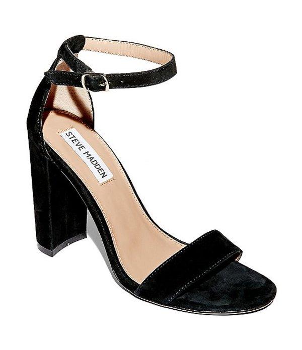 スティーブ マデン レディース サンダル シューズ Carrson Suede Ankle Strap Block Heel Dress Sandals Black Suede