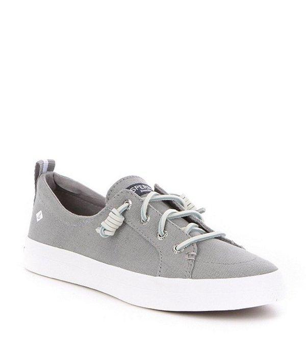 スペリー レディース スリッポン・ローファー シューズ Crest Vibe Canvas Lace-Up Sneakers Grey