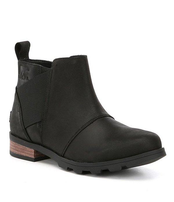 ソレル レディース ブーツ・レインブーツ シューズ SOREL Emelie Waterproof Chelsea Block Heel Booties Black/Black