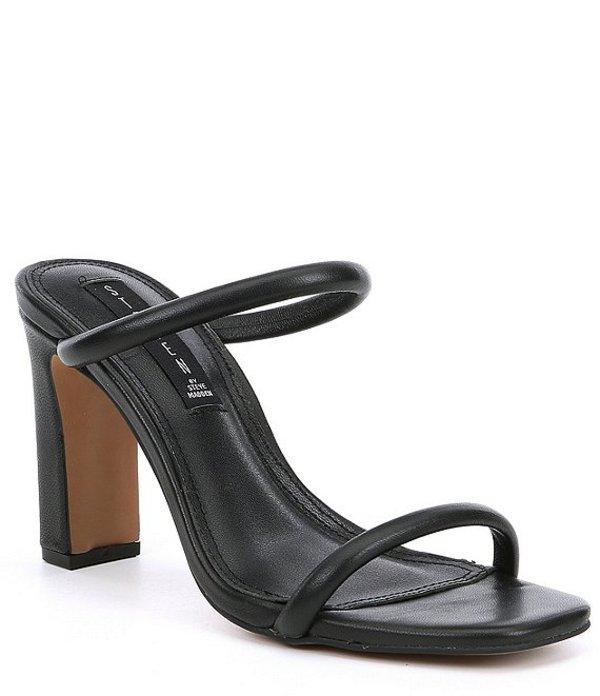 スティーブ マデン レディース サンダル シューズ Steven by Steve Madden Jersey Leather Block Heel Sandals Black Leather
