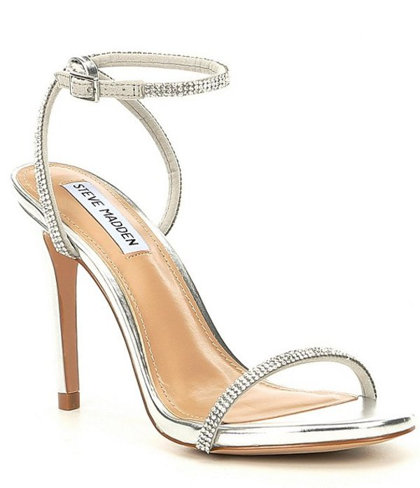 スティーブ マデン レディース サンダル シューズ Festive Leather Rhinestone Stiletto Sandals Silver