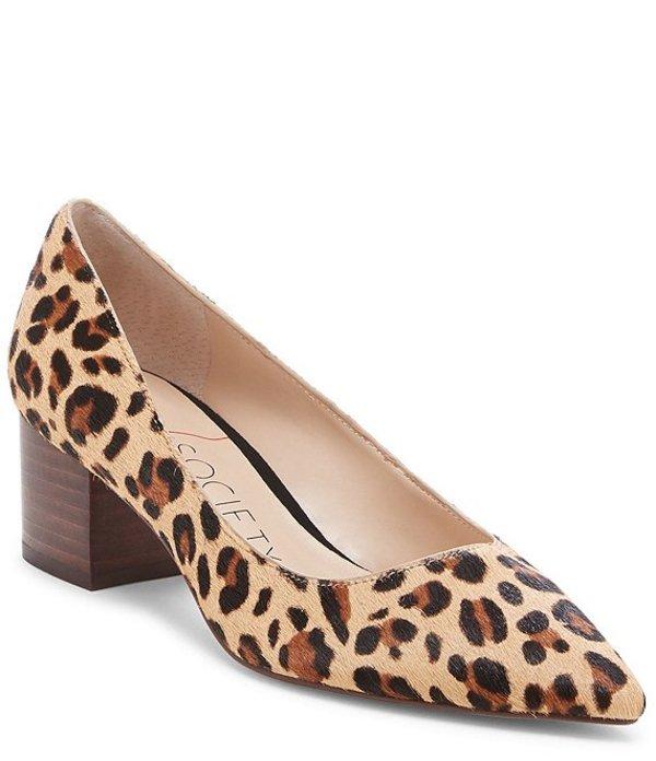 ソロソサエティ レディース ヒール シューズ Andorra Leopard Print Calf Hair Block Heel Pumps Tan Multi