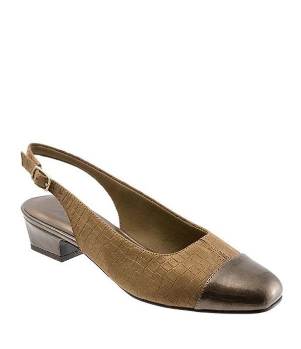 トロッターズ レディース ヒール シューズ Dea Metallic Croco Print Slingback Pumps Bronze Croco