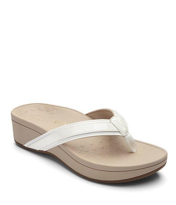 バイオニック レディース サンダル シューズ High Tide Leather & Textile Flip-Flops White