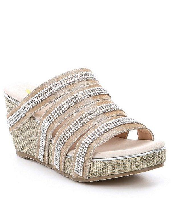 ボラティル レディース サンダル シューズ Sensation Fabric Multi Strap Stone Embellished Wedge Sandals Champagne