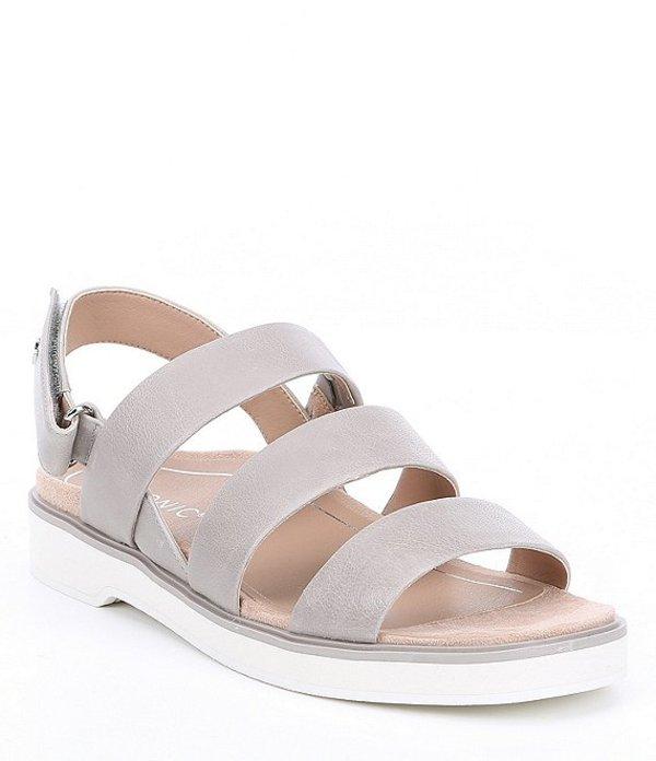 バイオニック レディース サンダル シューズ Keomi Leather Block Heel Sandals Light Grey