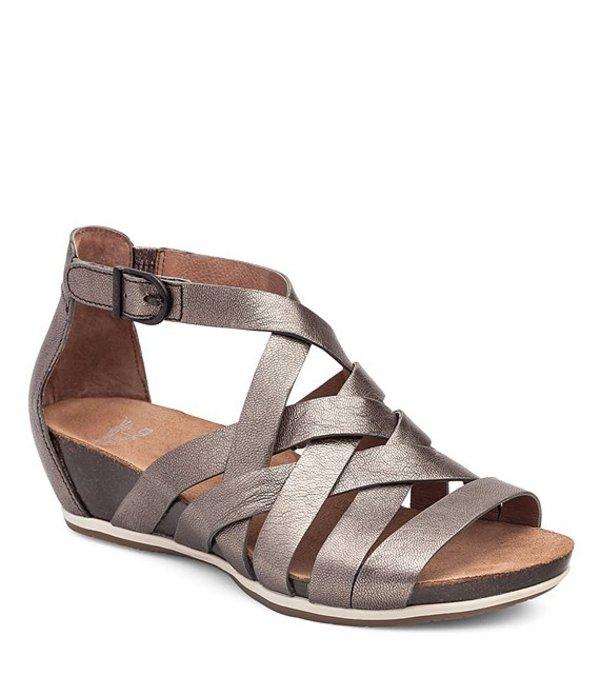 ダンスコ レディース サンダル シューズ Vivian Vintage Leather Criss Cross Banded Gladiator Wedge Sandals Pewter