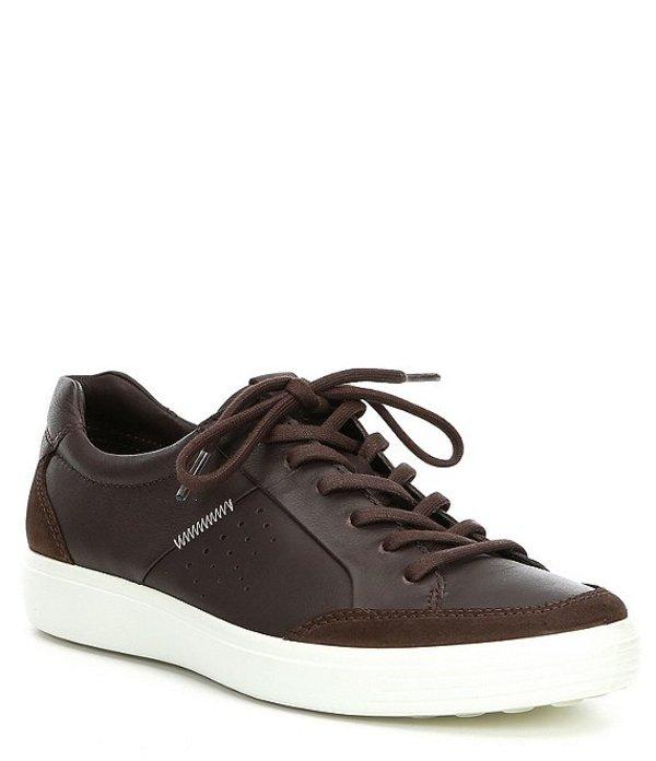エコー メンズ スニーカー シューズ Men's Soft VII Relaxed Leather Sneaker Coffee