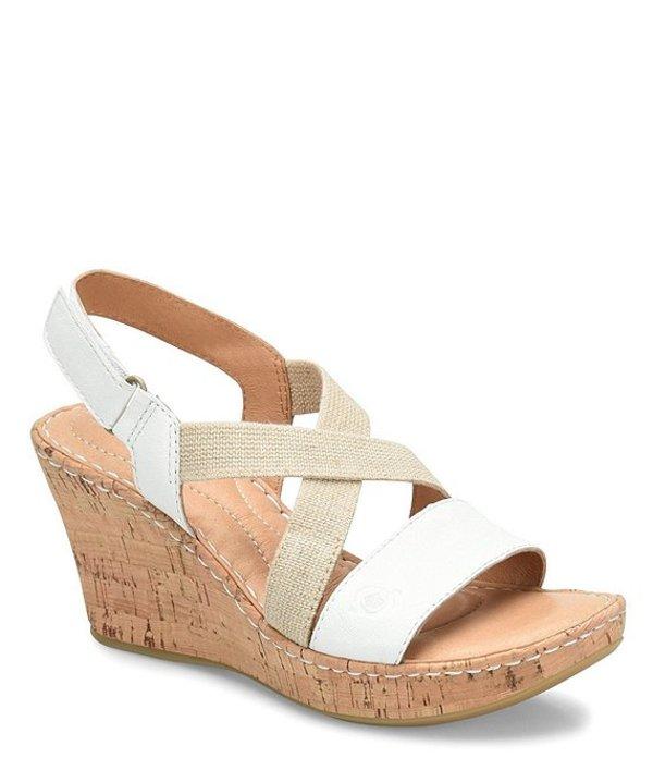 ボーン レディース サンダル シューズ Hyuro Cork Wedge Leather Sandals White
