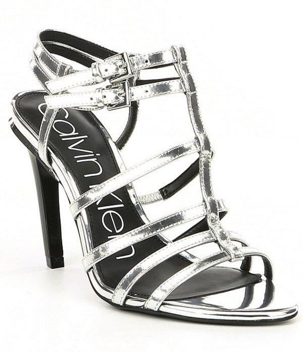 カルバンクライン レディース サンダル シューズ Gili Metallic Leather Dress Sandals Silver