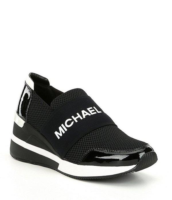 マイケルコース レディース スリッポン・ローファー シューズ Felix Trainer Slip-On Wedge Sneakers Black