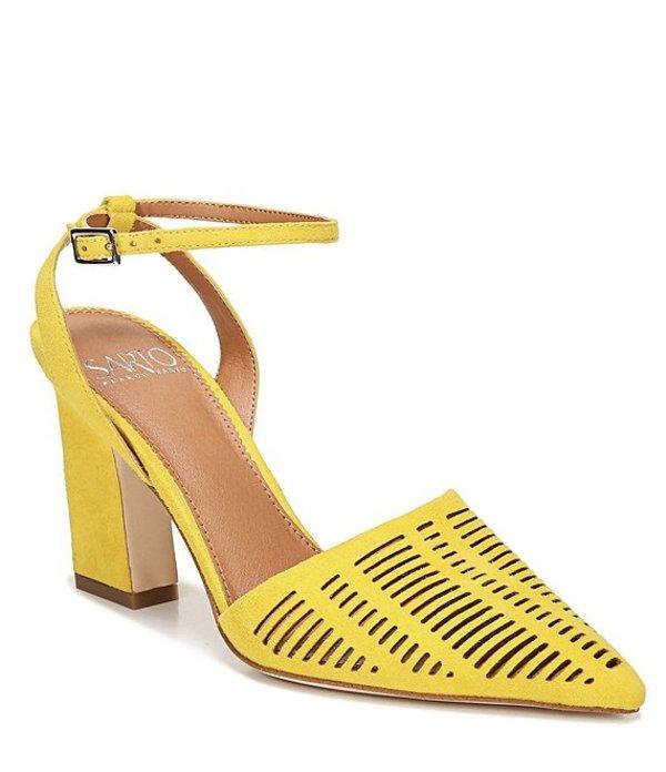 フランコサルト レディース ヒール シューズ Sarto by Franco Sarto Starla Suede Ankle Strap Block Heel Pumps Yellow