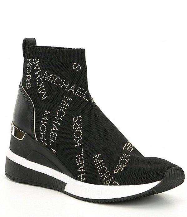 マイケルコース レディース スニーカー シューズ Skyler Logo Wedge Sneaker Booties Black