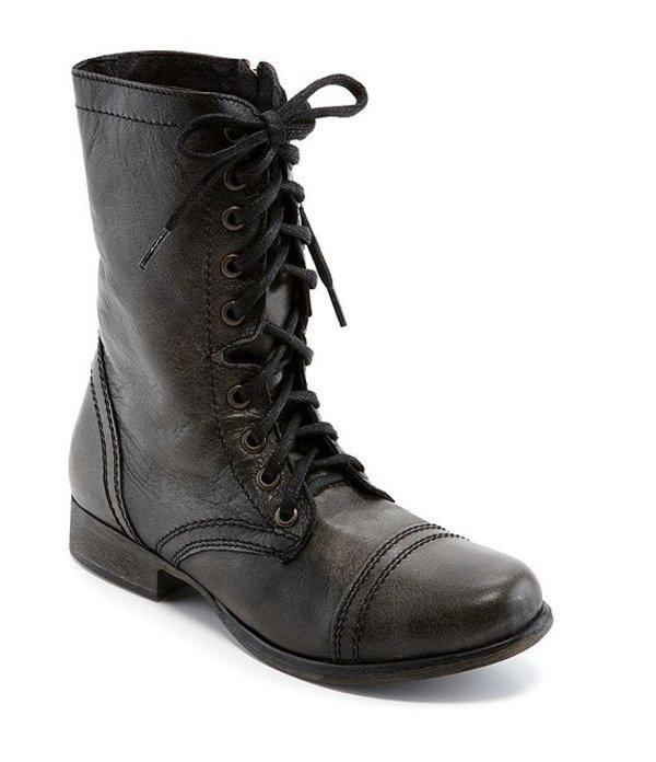 スティーブ マデン レディース ブーツ・レインブーツ シューズ Troopa Military-Inspired Zipper Lace Up Leather Combat Boots Black