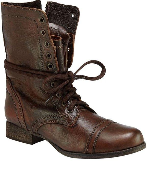 スティーブ マデン レディース ブーツ・レインブーツ シューズ Troopa Military-Inspired Zipper Lace Up Leather Combat Boots Brown
