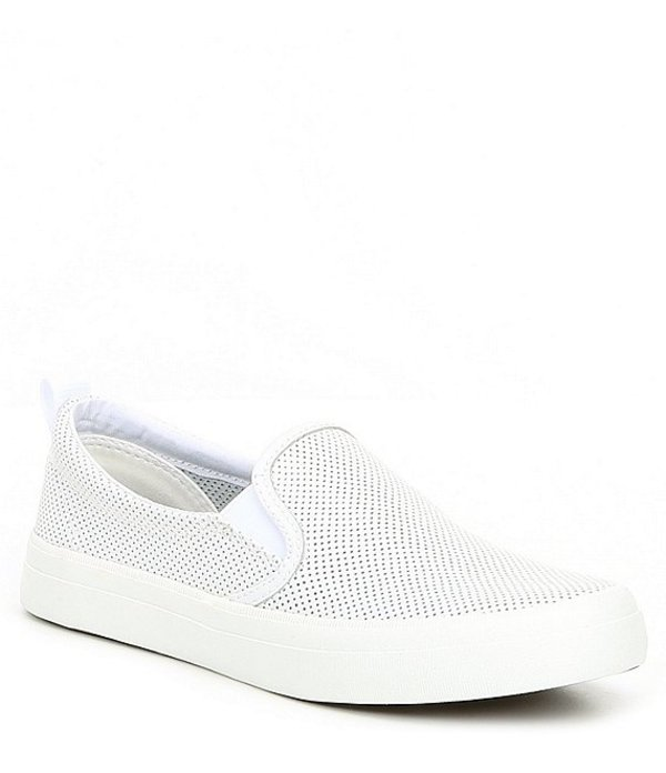 スペリー レディース スリッポン・ローファー シューズ Crest Twin Gore Mini Perforated Leather Slip-On Sneakers White