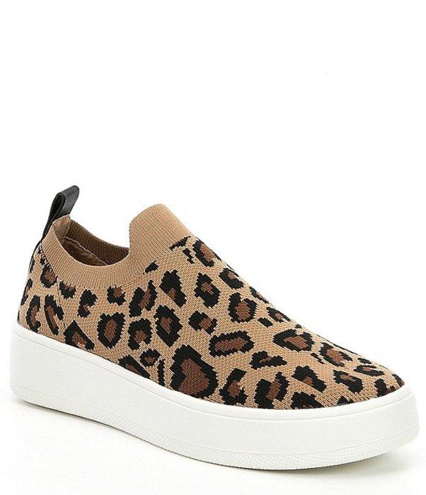 スティーブ マデン レディース スリッポン・ローファー シューズ Beale Leopard Print Stretch Knit Sneakers Leopard