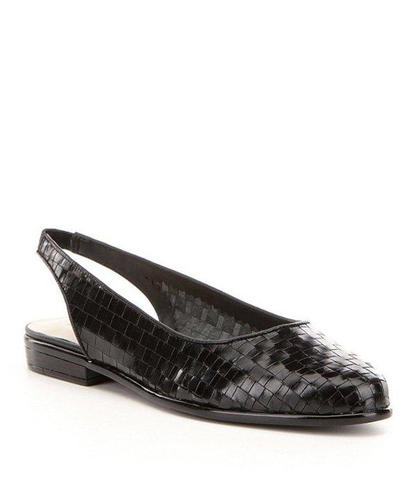 トロッターズ レディース パンプス シューズ Lucy Woven Leather Slingback Flats Black