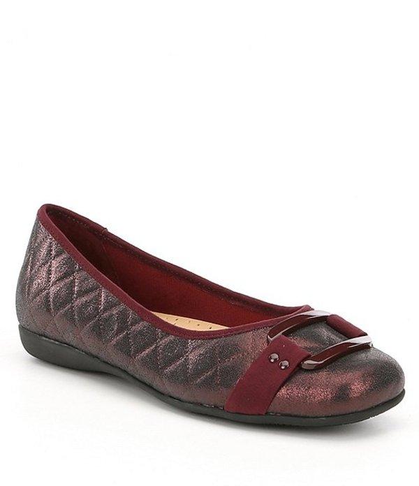トロッターズ レディース パンプス シューズ Sizzle Quilted Leather and Suede Ballerina Flats Burgundy Quilted