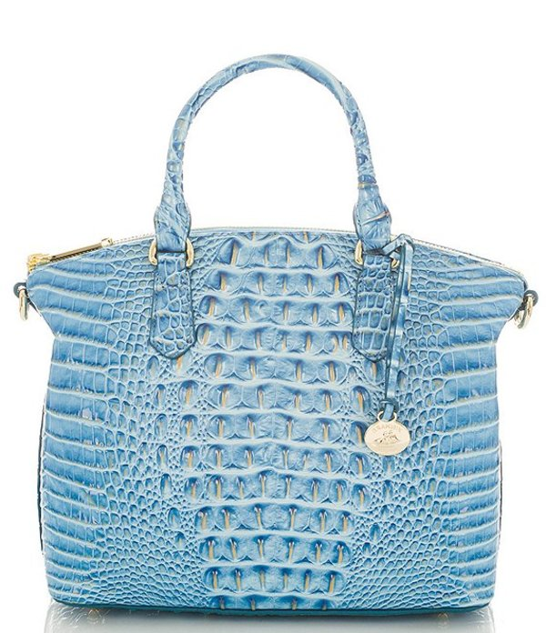 ブランミン レディース ハンドバッグ バッグ Melbourne Collection Duxbury Crocodile-Embossed Satchel Cerulean