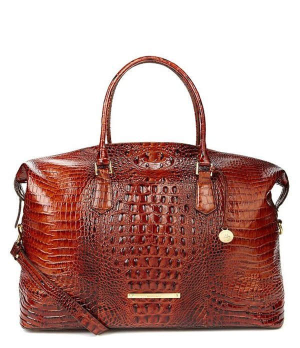ブランミン レディース ハンドバッグ バッグ Melbourne Collection Duxbury Crocodile-Embossed Weekender Pecan