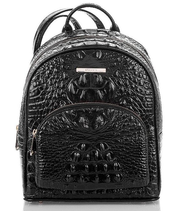 ブランミン レディース バックパック・リュックサック バッグ Melbourne Collection Mini Dartmouth Crocodile-Embossed Backpack Black