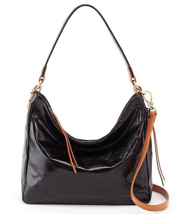 ホボ レディース ショルダーバッグ バッグ Delilah Shiny Leather Hobo Bag Black