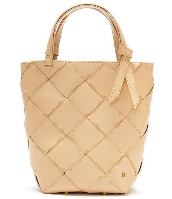 アイグナー レディース ショルダーバッグ バッグ Ella Leather Woven Bucket Bag Honey Peach