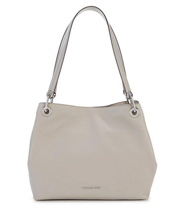 マイケルコース レディース ハンドバッグ バッグ Silver-Tone Raven Large Shoulder Bag Pearl Grey