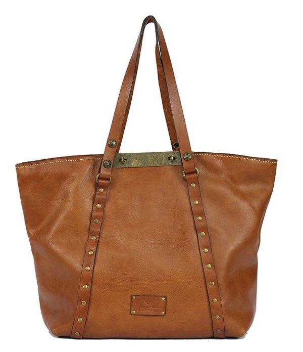 パトリシアナシュ レディース トートバッグ バッグ Leather Benvenuto Studded Convertible Tote Medium Tan