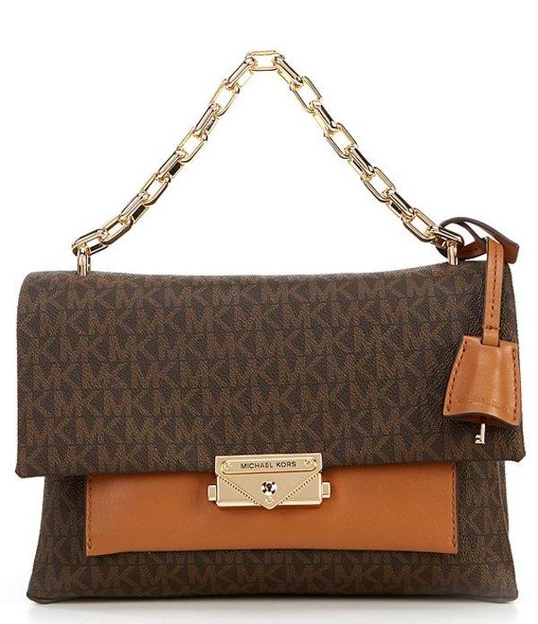 マイケルコース レディース ハンドバッグ バッグ Cece Medium Signature Chain Colorblock Shoulder Bag Brown/Acorn