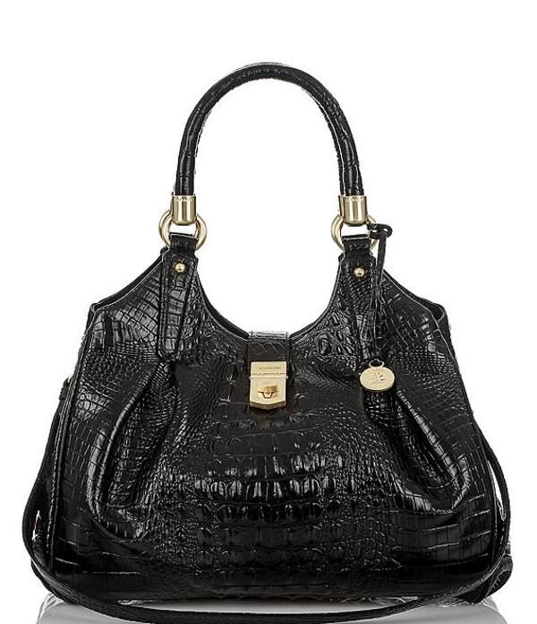 ブランミン レディース ショルダーバッグ バッグ Melbourne Collection Elisa Crocodile-Embossed Hobo Bag Black
